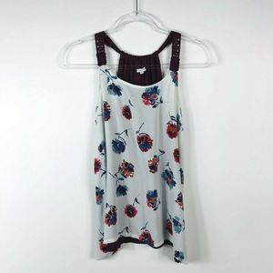 Maurices Size Medium Floral Crochet Strap Tank Top